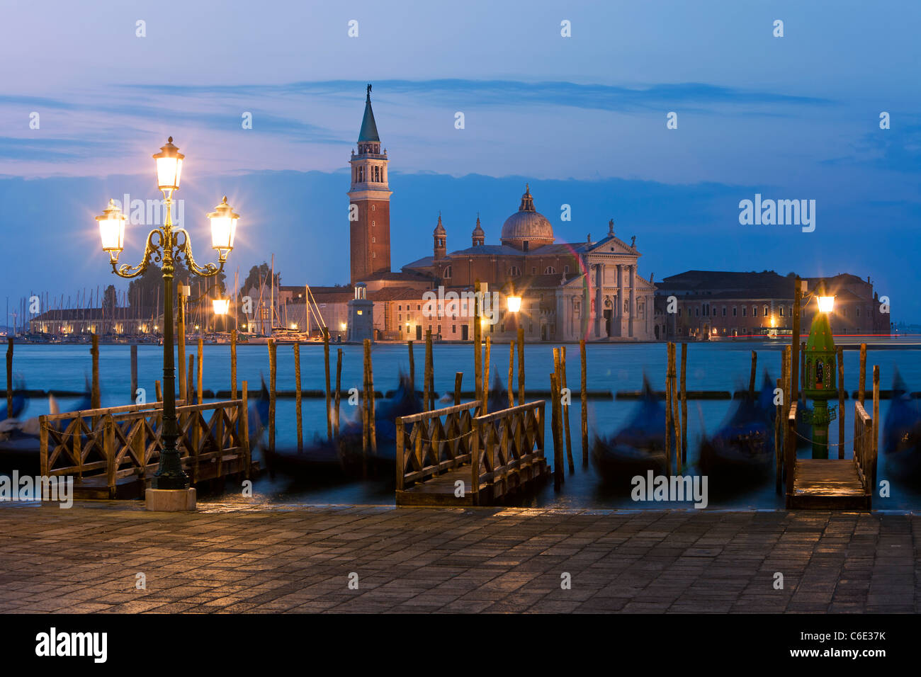 Quay at St Mark's Square with Gondolas and the view to San Giorgio Maggiore Island, Venice, Italy, Europe - Stock Image