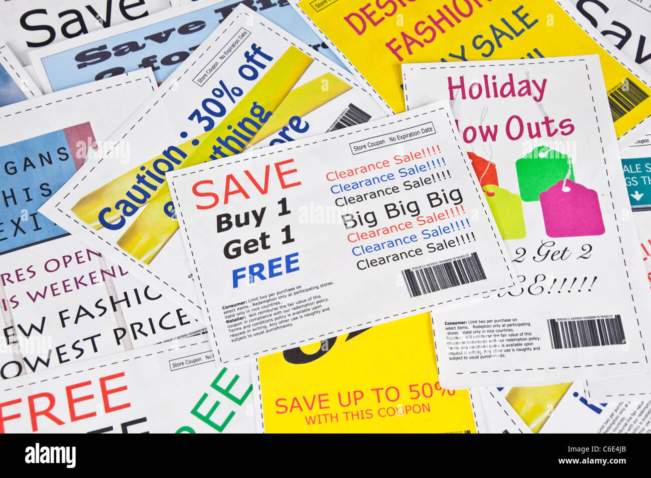 Completely fake fashion store coupons.  The photos within the coupons are the photographers work.  No real ads were - Stock Image