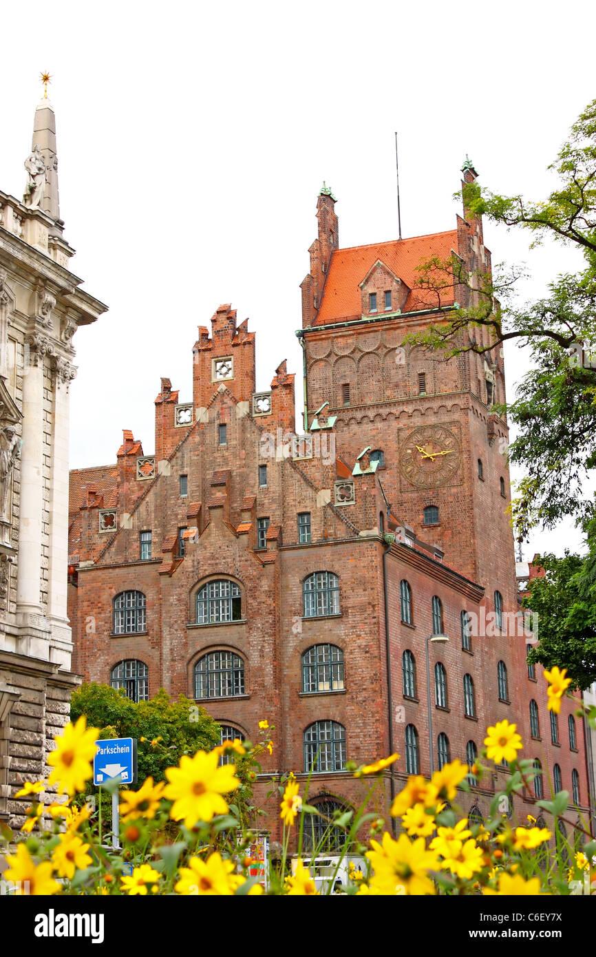 Old building made of bricks near the old Munich Botanical Garden ...