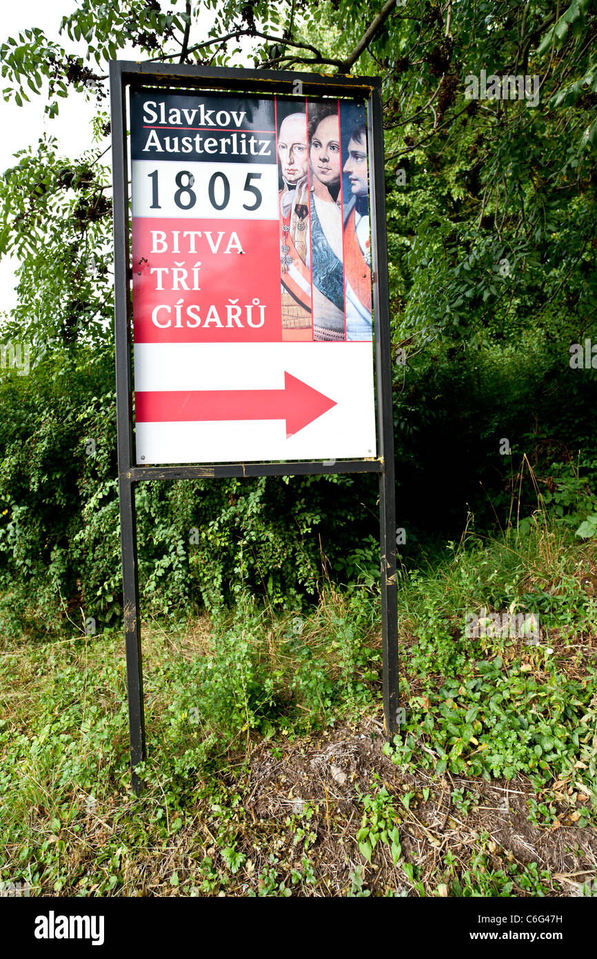 Signpost to places of the Austerlitz battleground site. - Stock Image