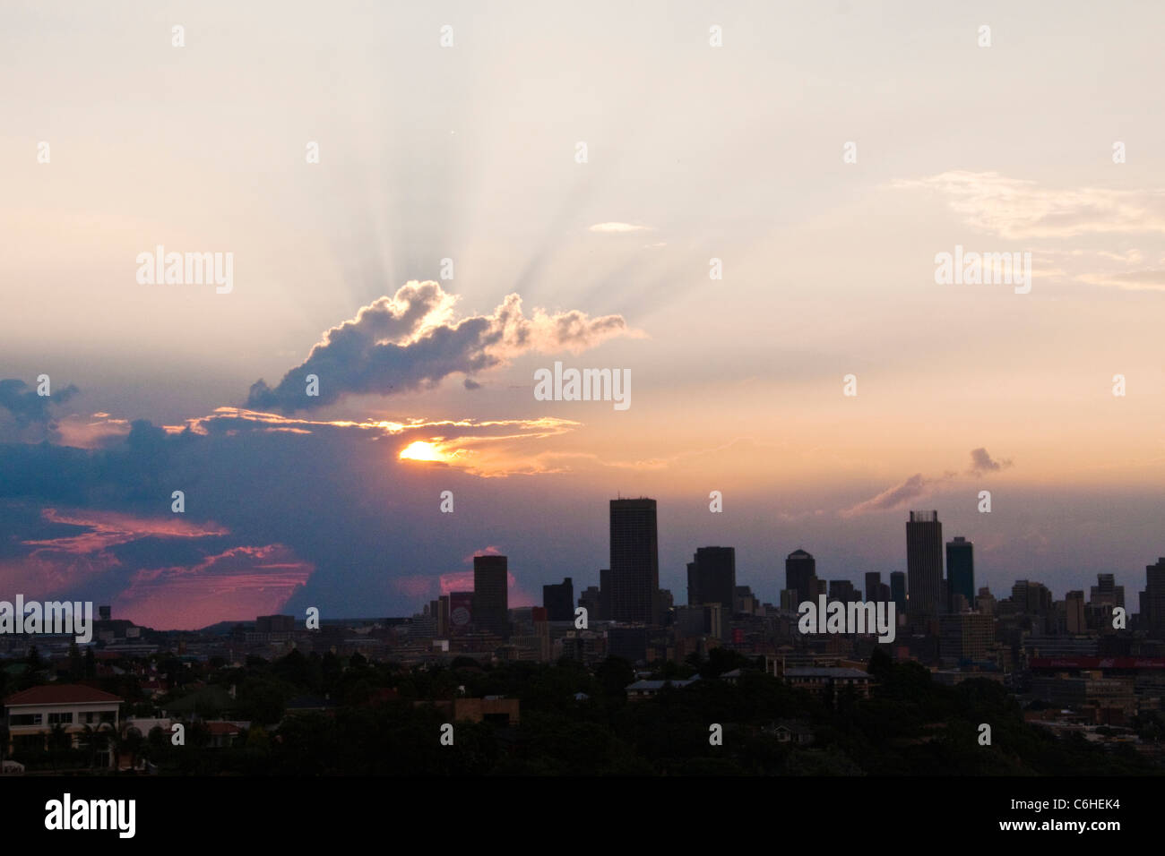 Johannesburg city skyline at dusk - Stock Image