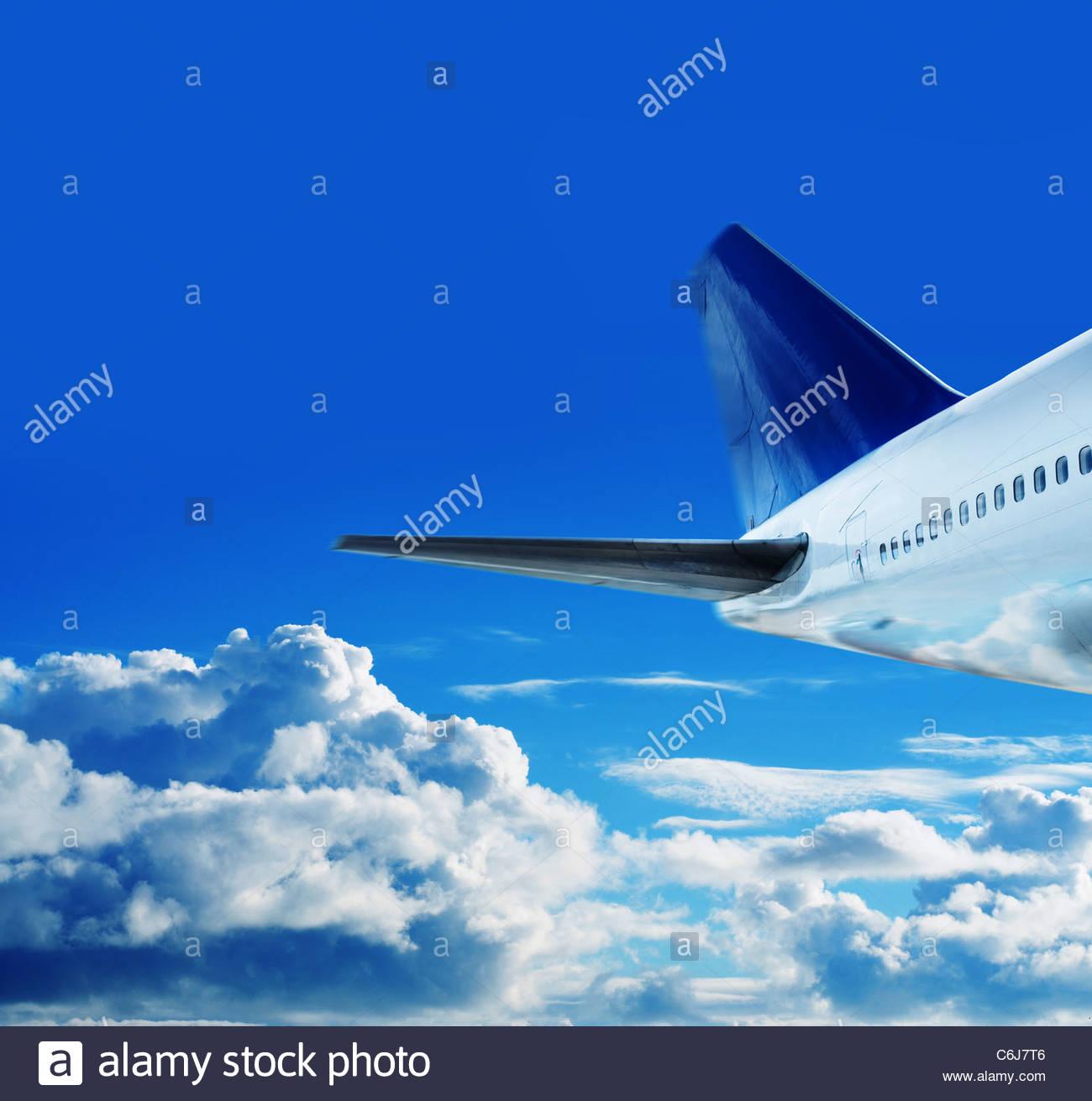 jumbo jet in sky - Stock Image