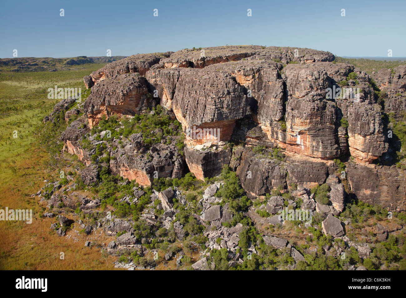 Rock outcrops near Ubirr, Kakadu National Park, Northern Territory, Australia - aerial - Stock Image