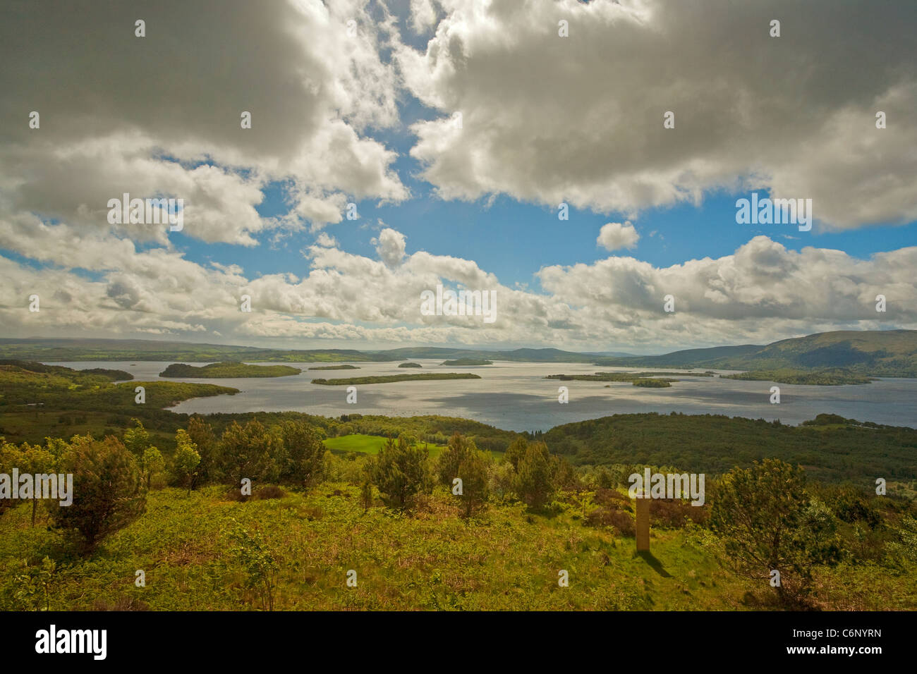The view over Loch Lomond from the Forest for a thousand years at Cashel - Stock Image