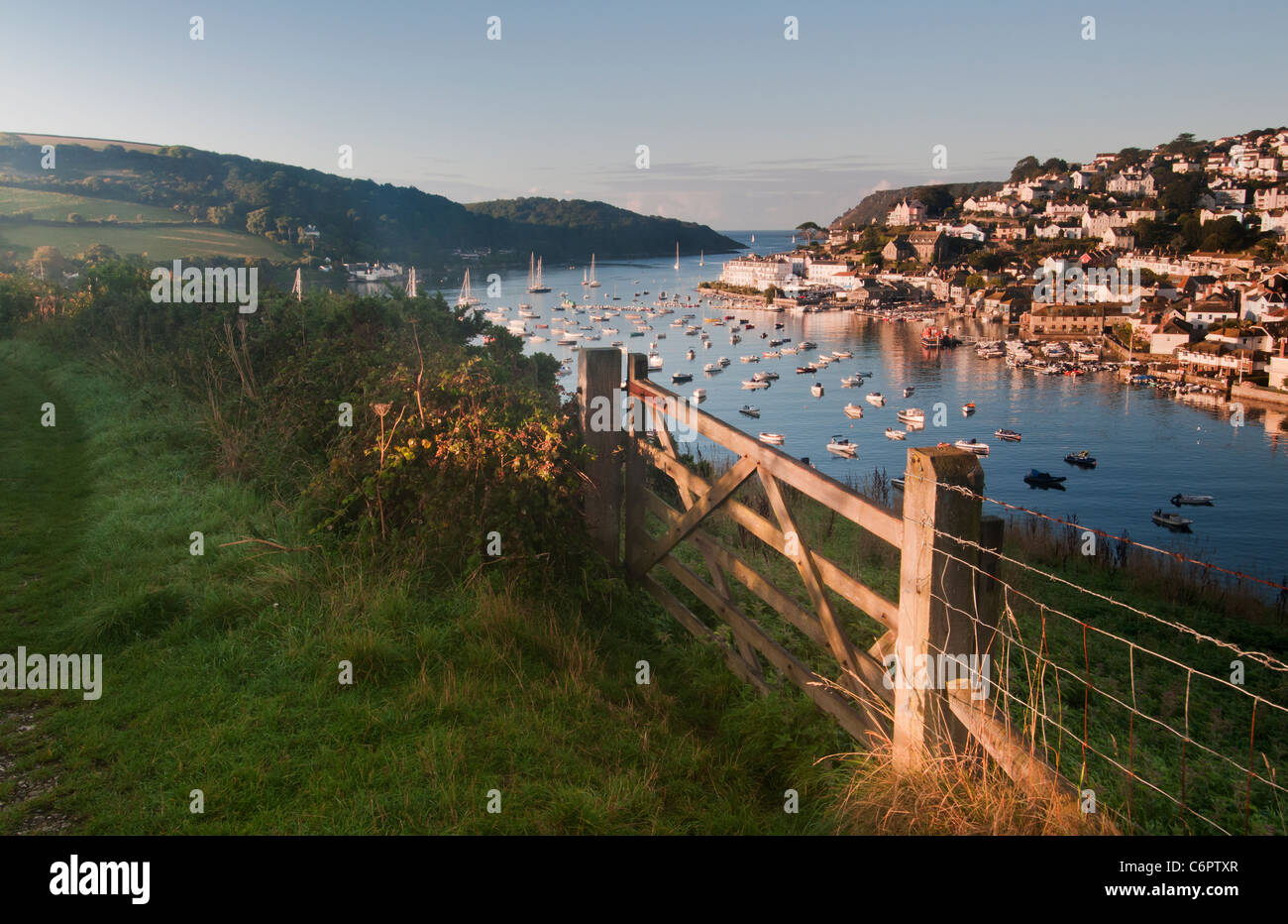 Salcombe viewed from Snapes Point in early Morning light - Stock Image