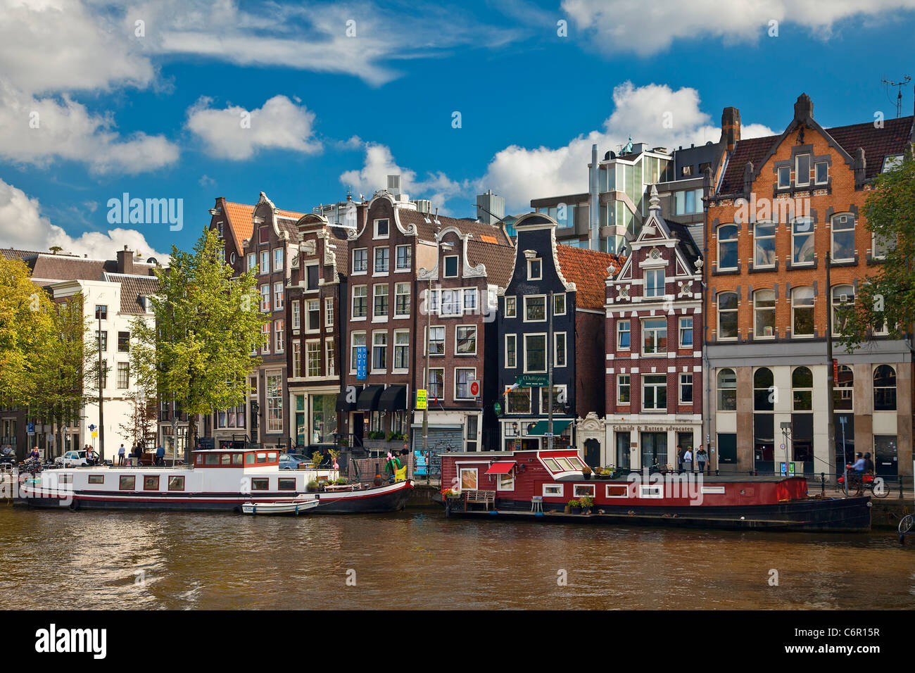 Europe, Netherlands, Canal in Amsterdam - Stock Image