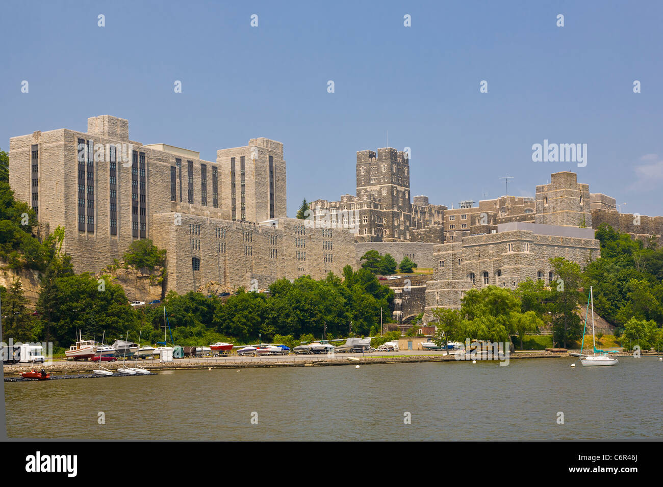 West Point Military Academy on the Hudson River in New York State Stock Photo