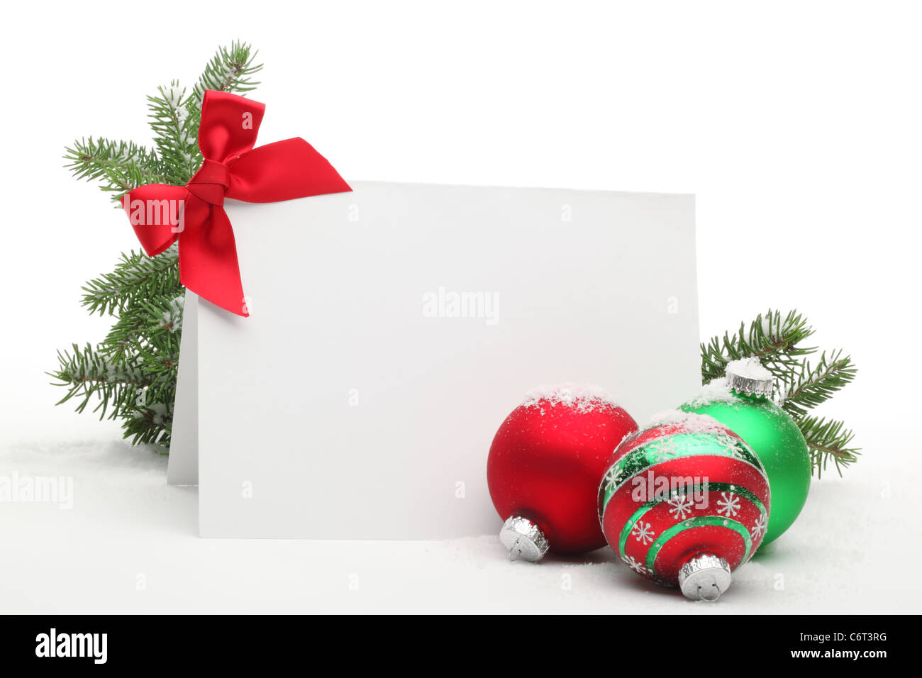 Christmas Ornaments with blank card on white background Stock Photo ...
