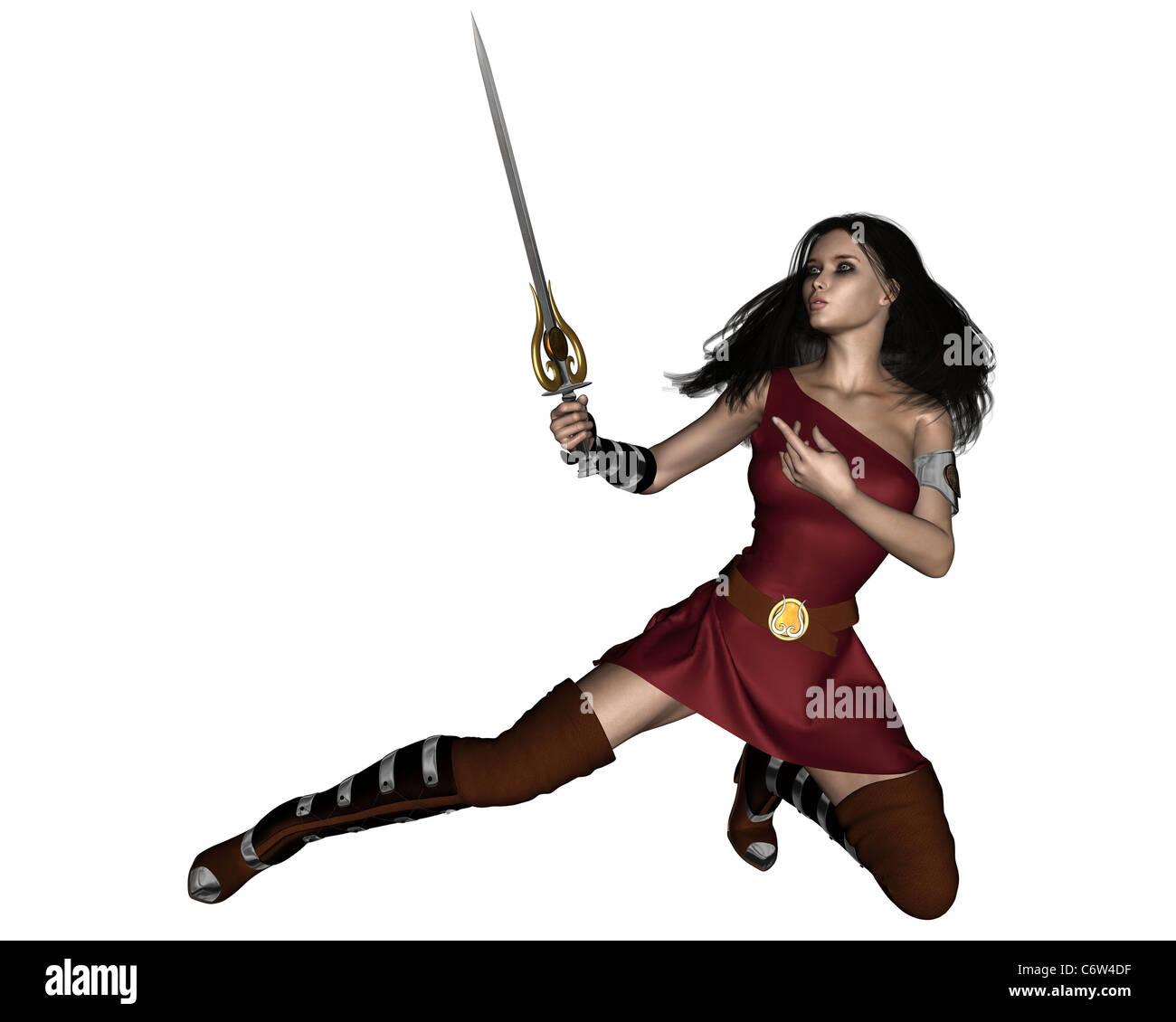 Fantasy Barbarian Swordswoman - Stock Image