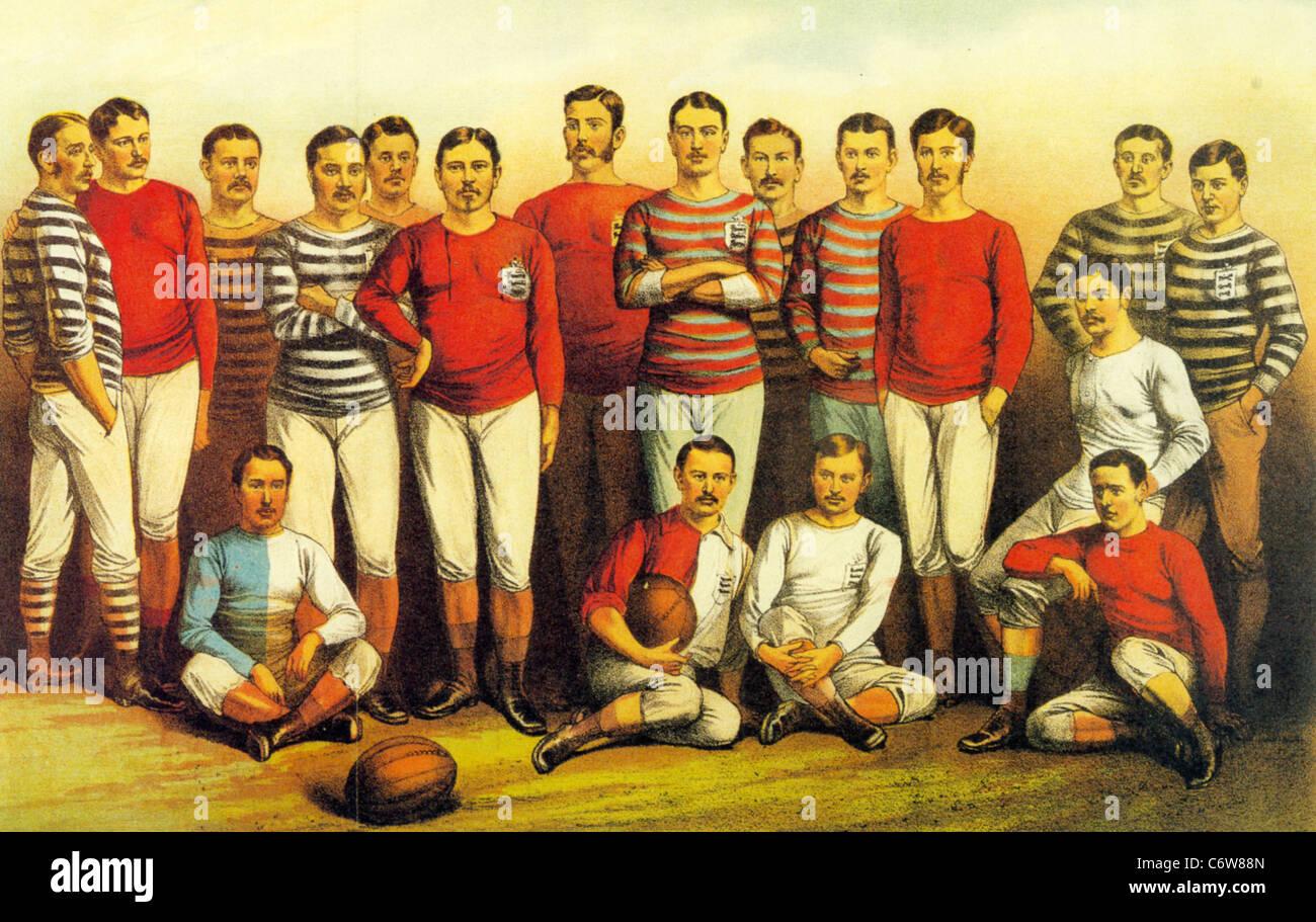 ENGLISH FOOTBALLERS OF 1881 as shown in the Boys Own Magazine Stock Photo
