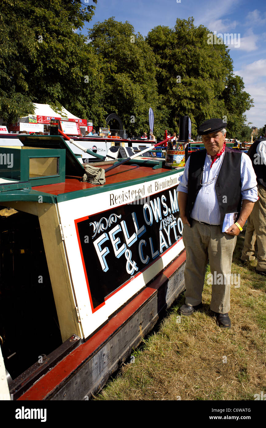 Traditional historic Josher working narrowboat President moored on the Trent and Mersey Canal during the 2011 Inland - Stock Image