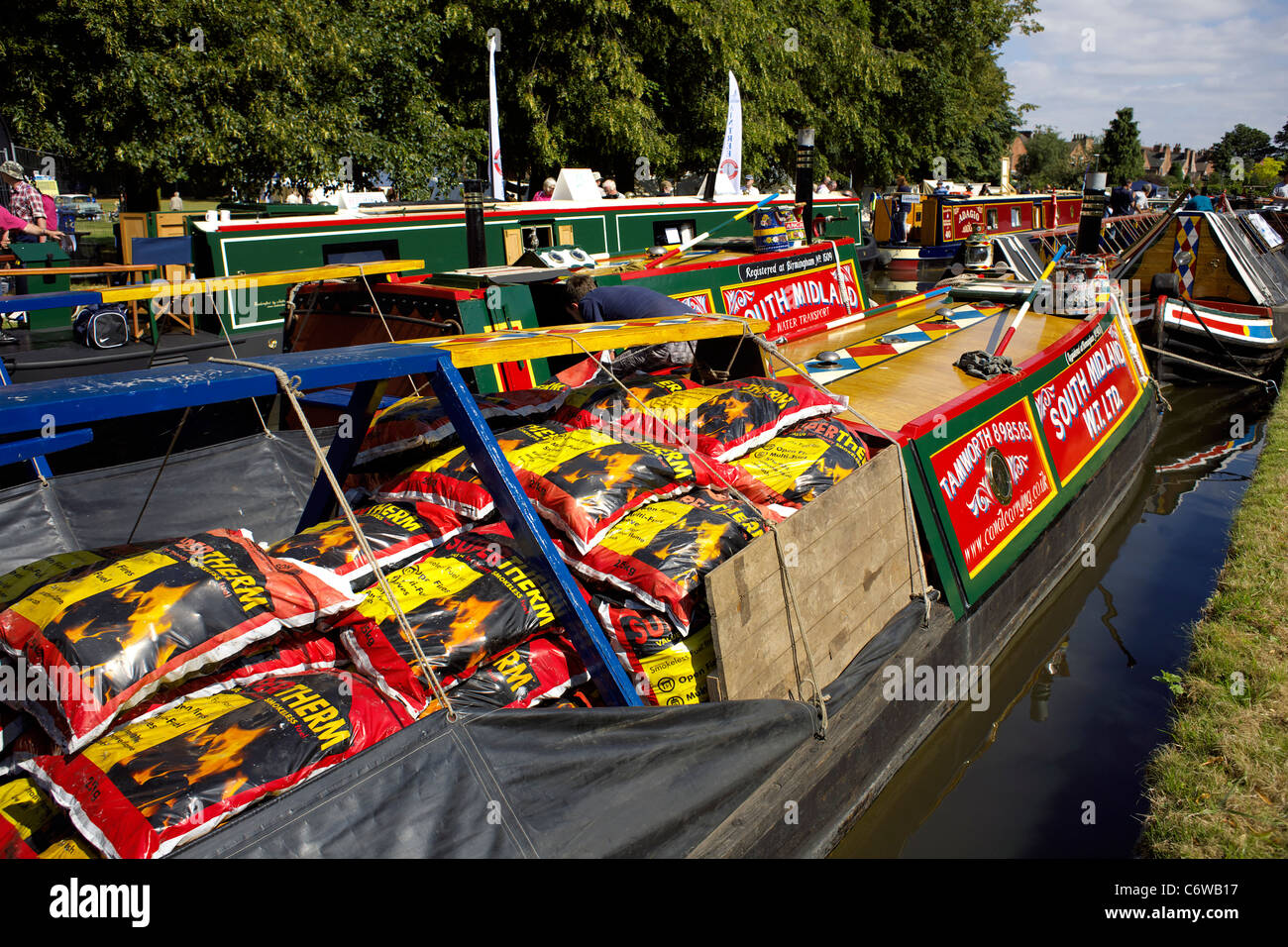 Traditional working narrowboat Australia, loaded up with coal, moored on the Trent and Mersey Canal during the 2011 - Stock Image