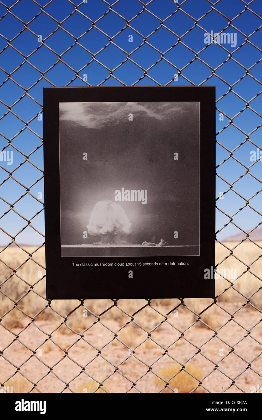 A photograph on display at Trinity Site in New Mexico shows the first nuclear device explosion in 1945. - Stock Image