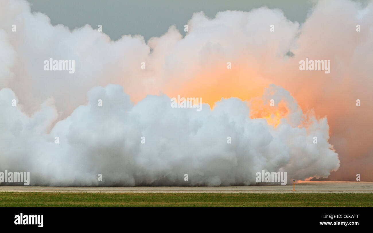 Explosion and smoke cloud. - Stock Image