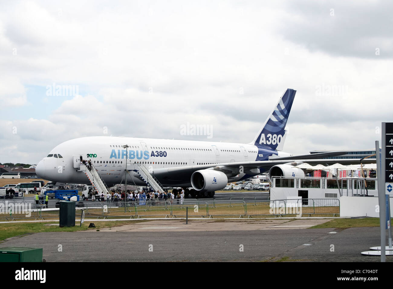 Display by the Airbus A380 at the Farnborough International Airshow - Stock Image