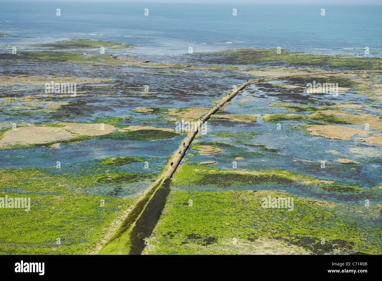 Aerial view of breakwater, Ile de RŽ, Charente-Maritime, France - Stock Image