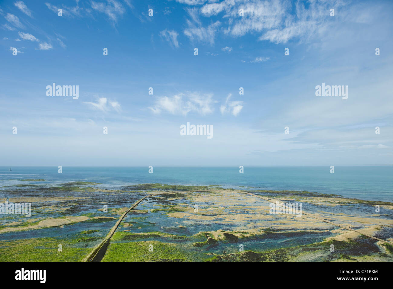 Aerial view of coastal Ile de RŽ, Charente-Maritime, France - Stock Image