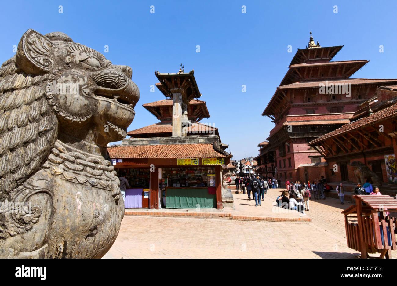 Lion statue in Durbar Square, Patan, Nepal - Stock Image