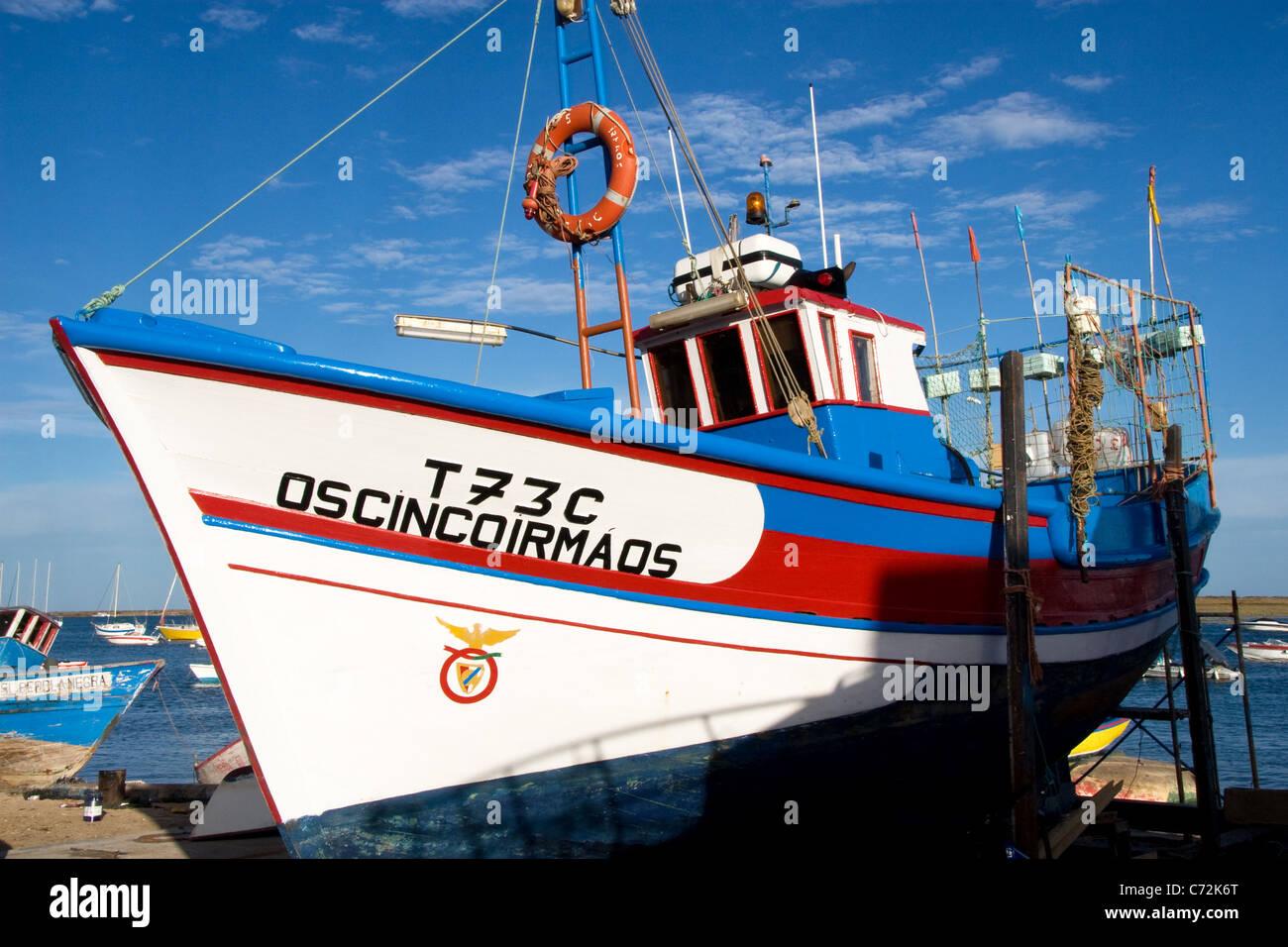 Fishing boat, Santa Luzia, Tavira, Algarve, Portugal - Stock Image