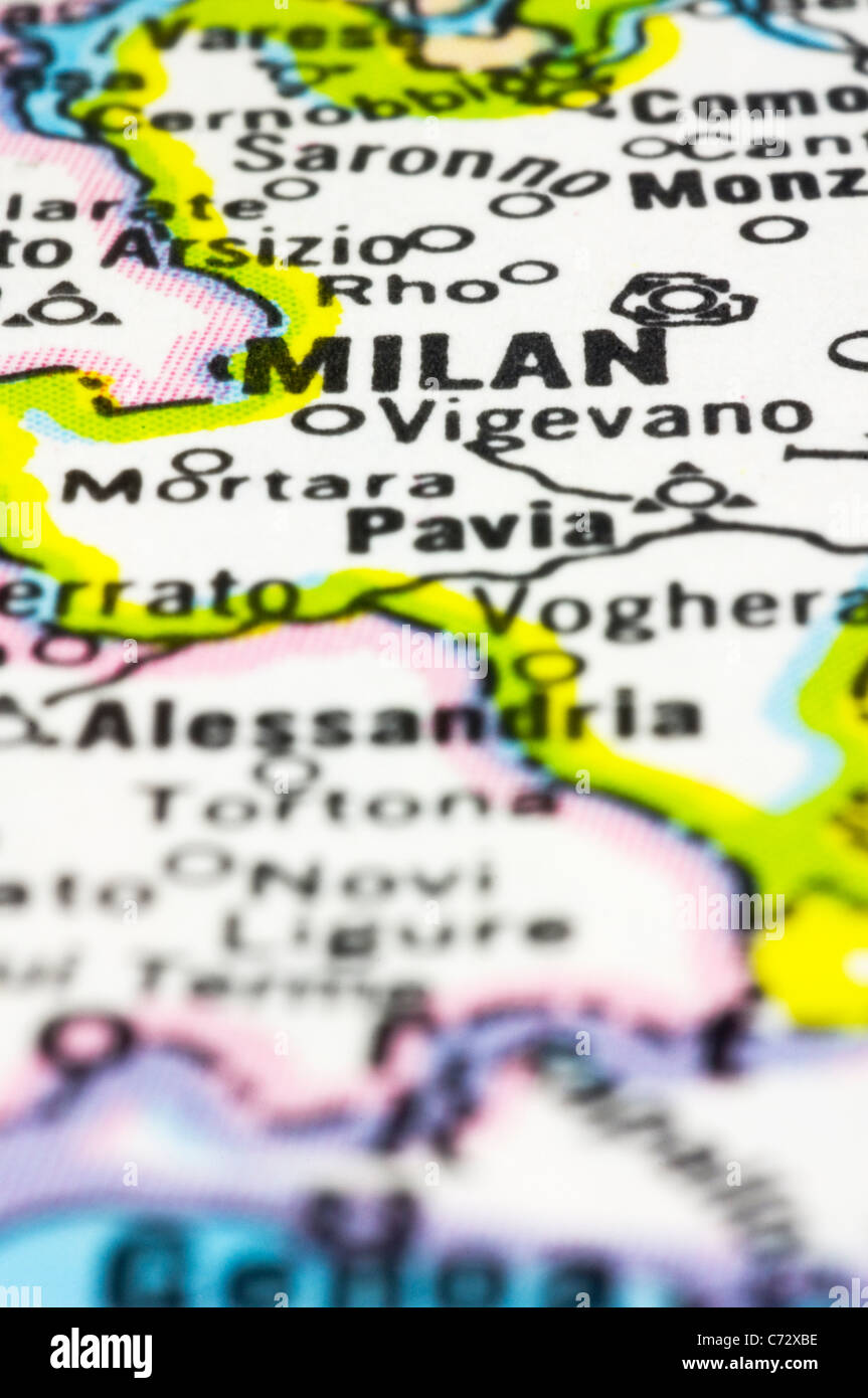 close up of Milan on map, city of Italy. - Stock Image