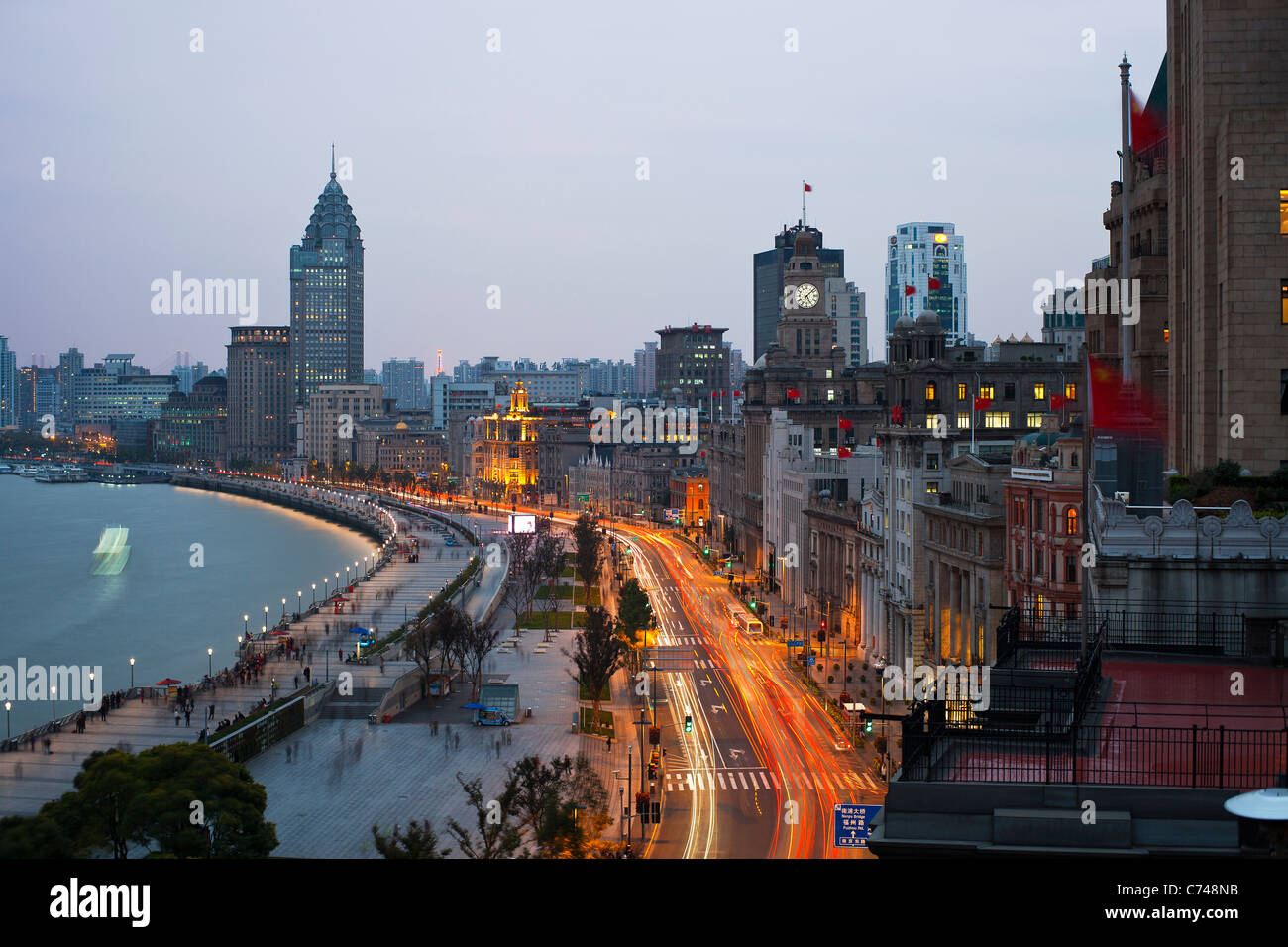View along the Bund at night, Shanghai, China - Stock Image
