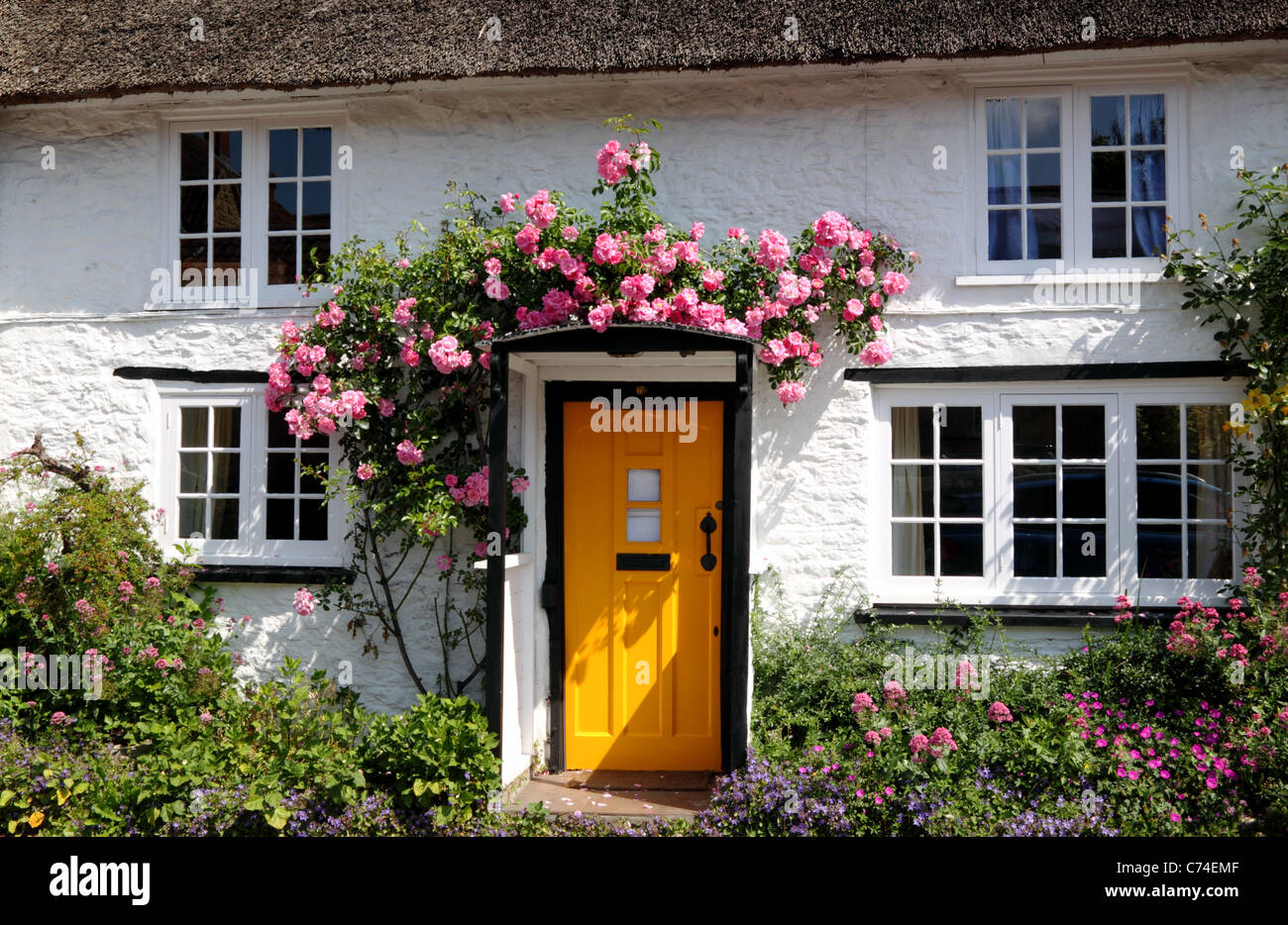 Cottage with yellow door and roses. Stock Photo