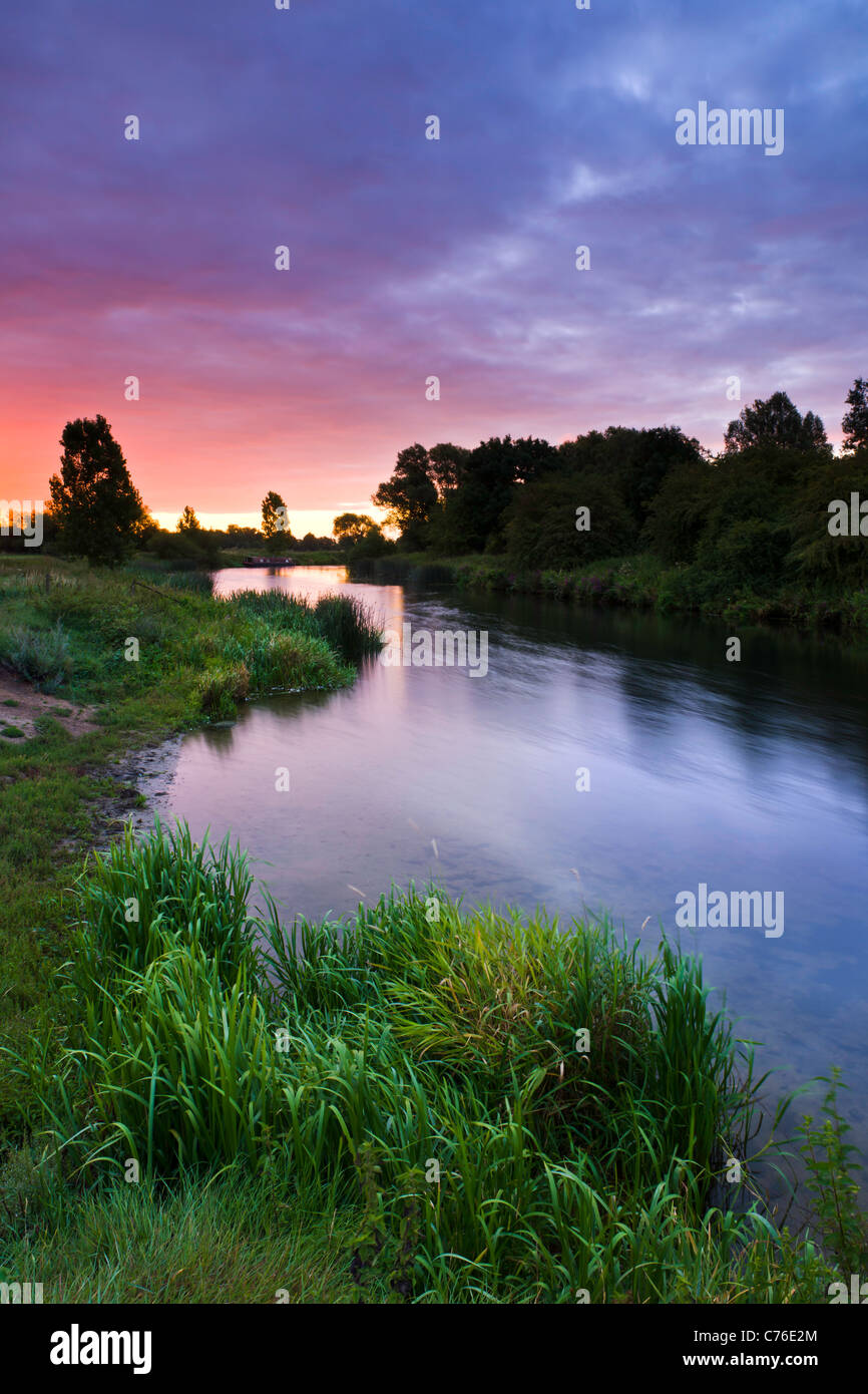 Sunset on the Great Ouse - Stock Image