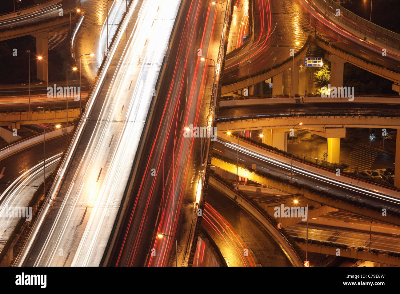 Car trails on Yan'an Rd East Interchange; Luwan; Shanghai; China - Stock Image