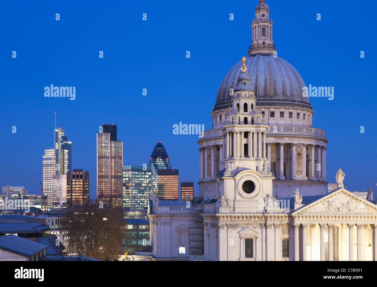St Paul's Cathedral and London skyline at night; London; England - Stock Image