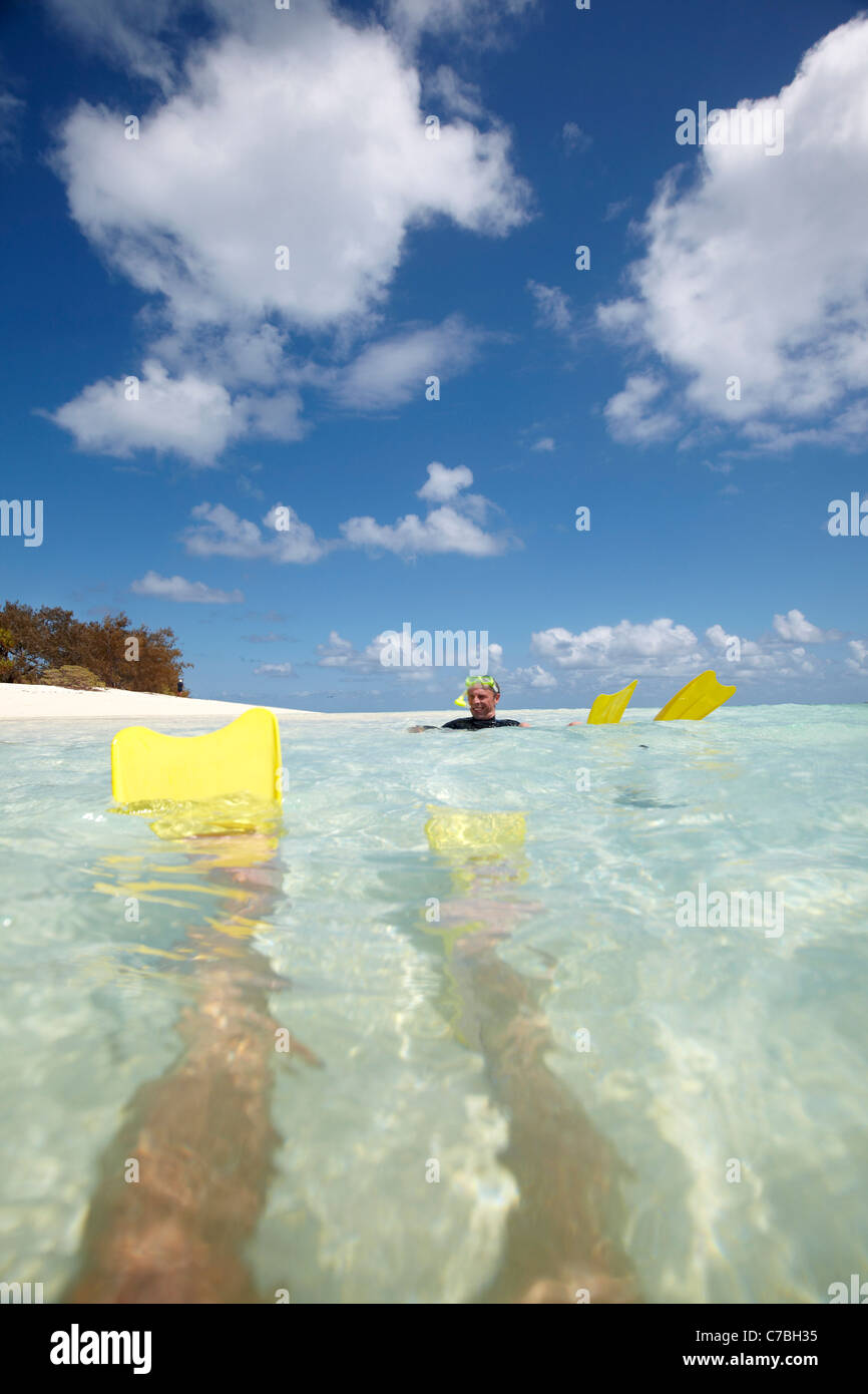 Snorkeler with fins near Heron Island eastern part is part of the Capricornia Cays National Park Great Barrier Reef - Stock Image