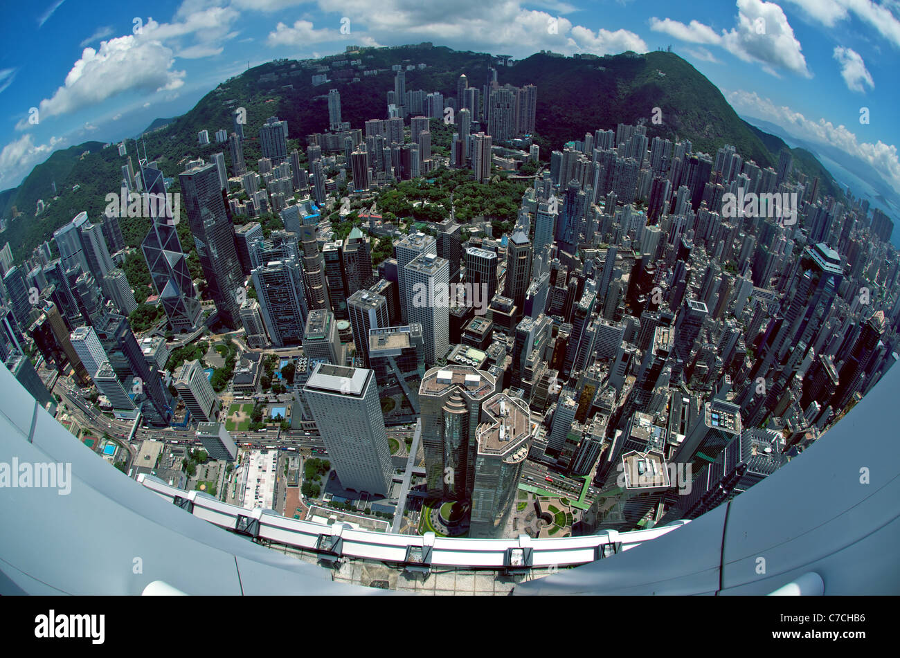 Fisheye aerial view of Central Hong Kong from the rooftop of IFC 2, including Exchange Square, Jardine House, HSBC - Stock Image