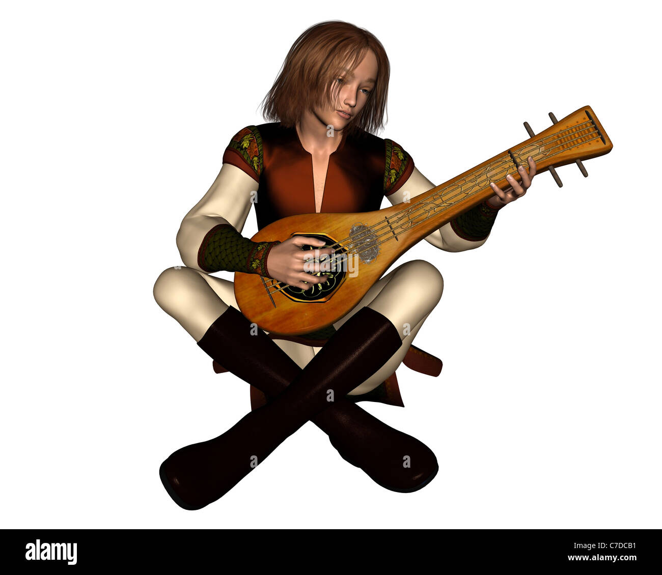 Young Medieval Minstrel with Lute - Stock Image