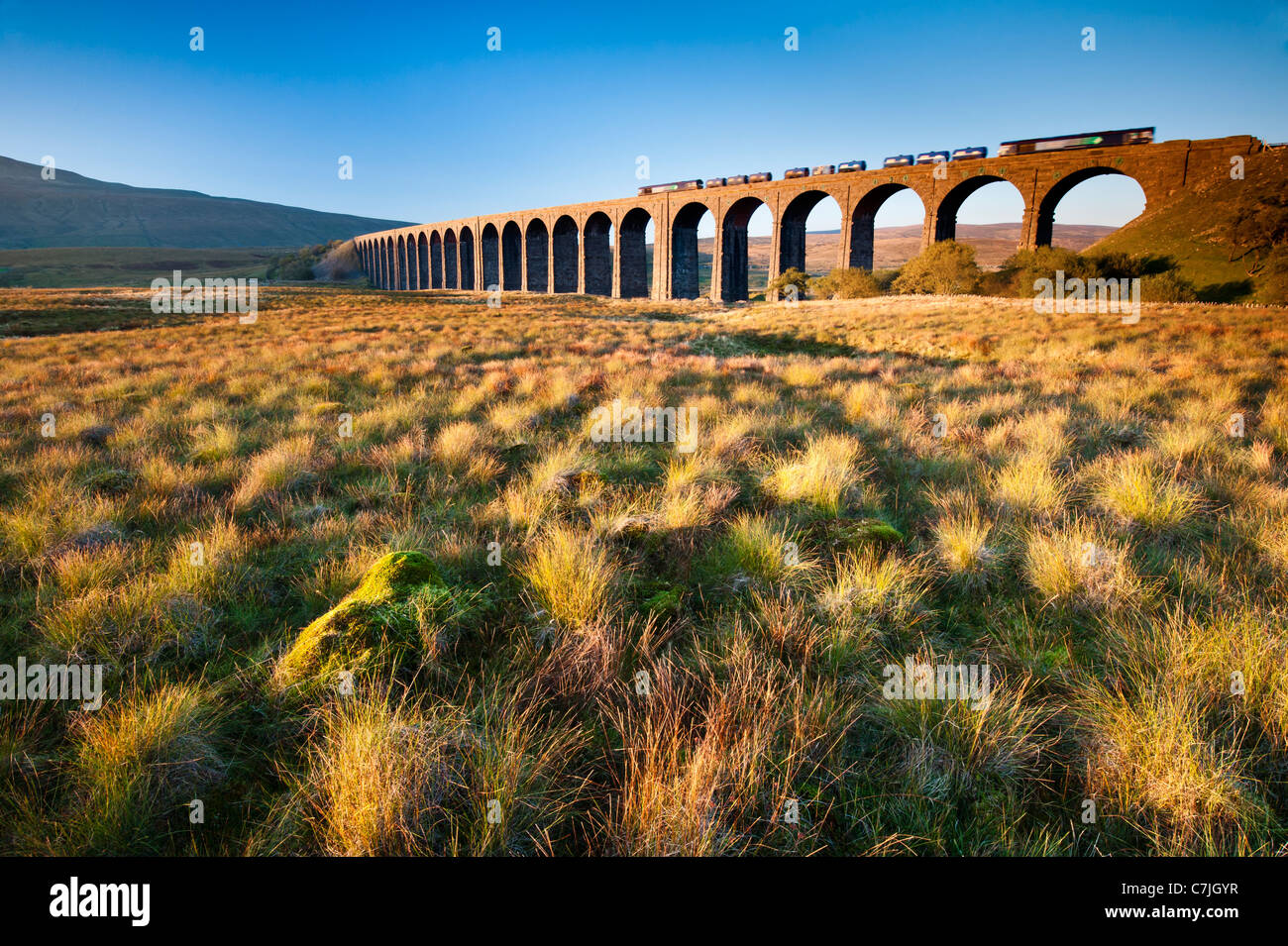 Fraight train crossing the Ribblehead Viaduct, Yorkshire Dales, England, UK - Stock Image