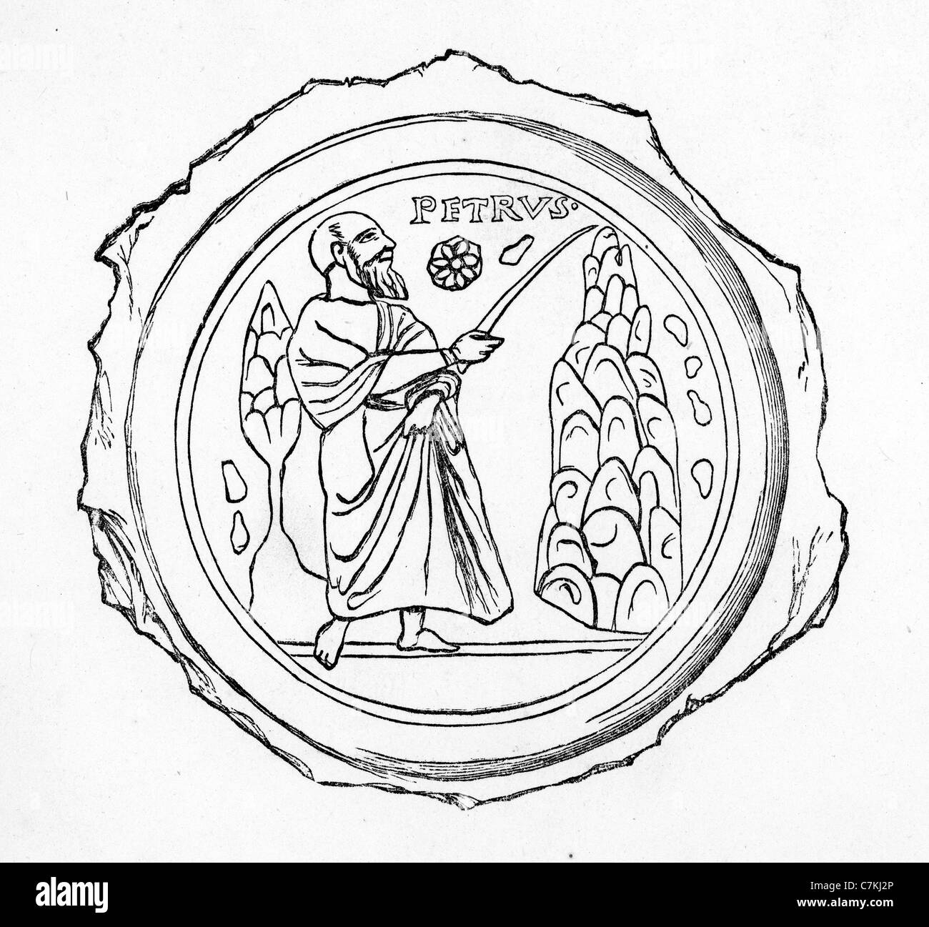 Early Christian Symbolism Early Image Of Saint Peter Stock Photo