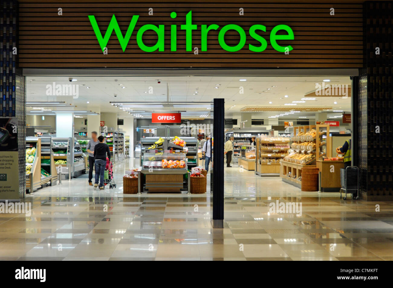 Waitrose food supermarket store front grocery shopping mall access within Westfield shopping centre at StratfordStock Photo