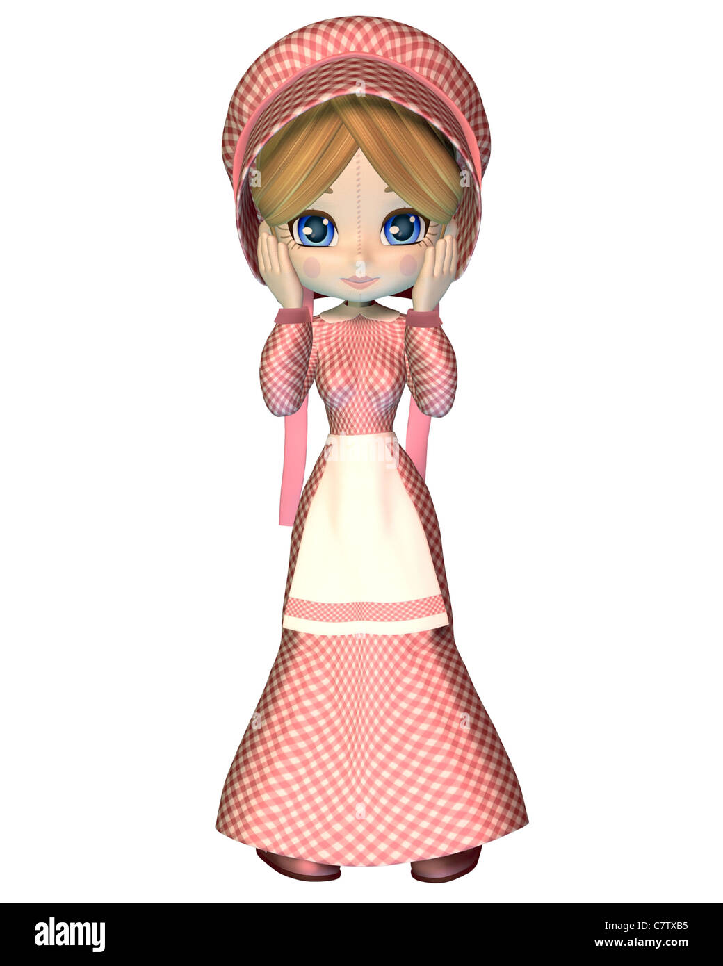 Rag Doll in Pink Gingham Dress and Bonnet - Stock Image