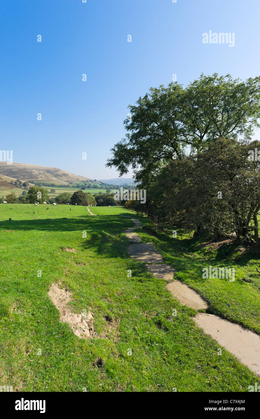 The Pennine Way near its start in Edale looking towards the village, Peak District National Park, Derbyshire, England, - Stock Image