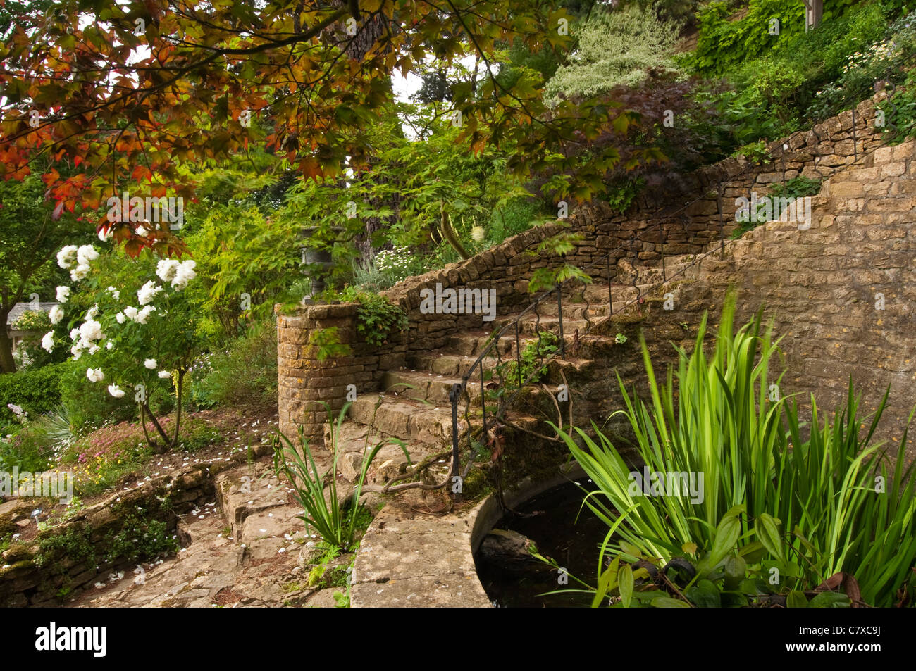 Sweeping stone steps amongst the landscaped gardens of Kiftsgate ...