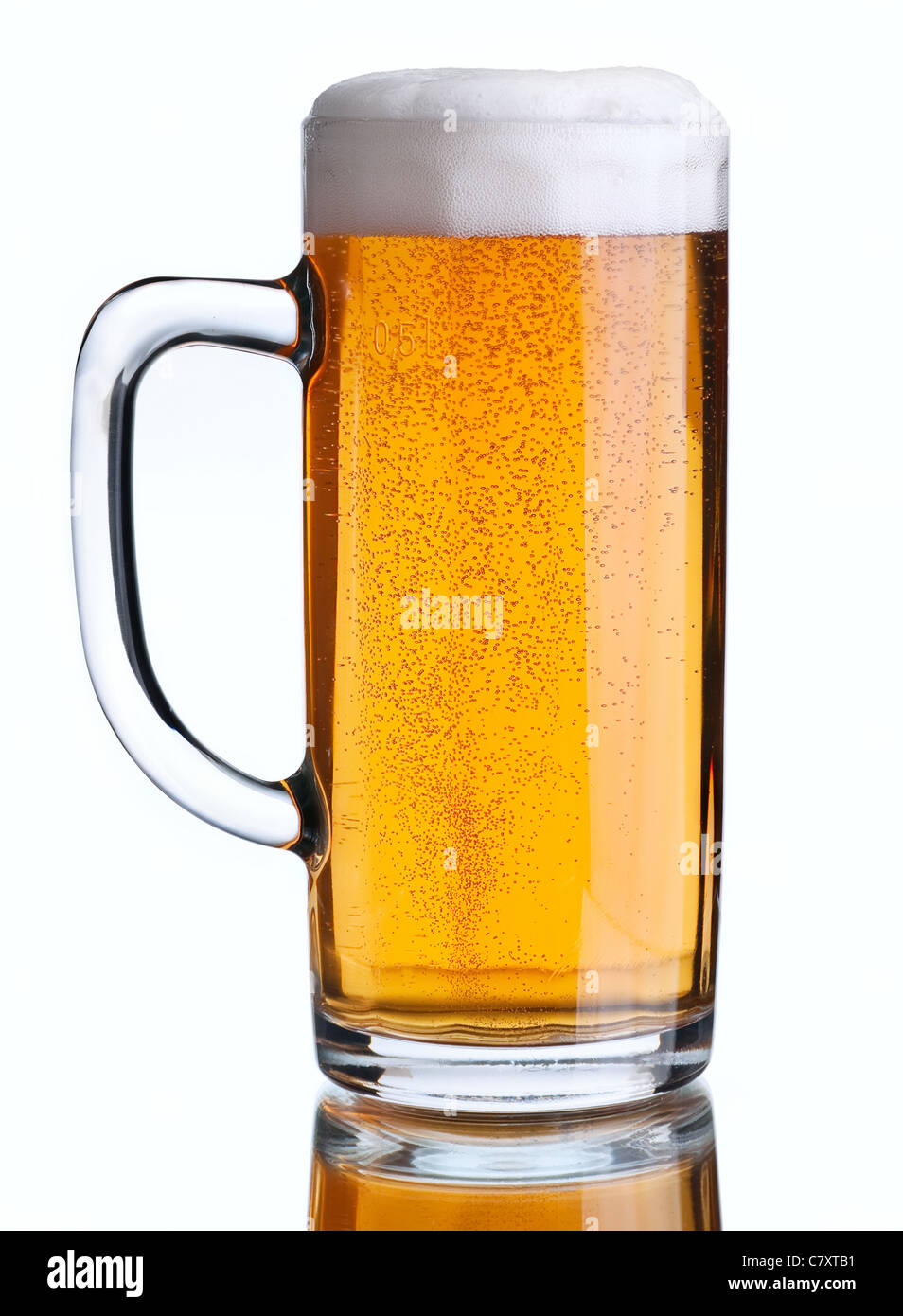 Beer beverage closeup in glass on white with hahdle - Stock Image