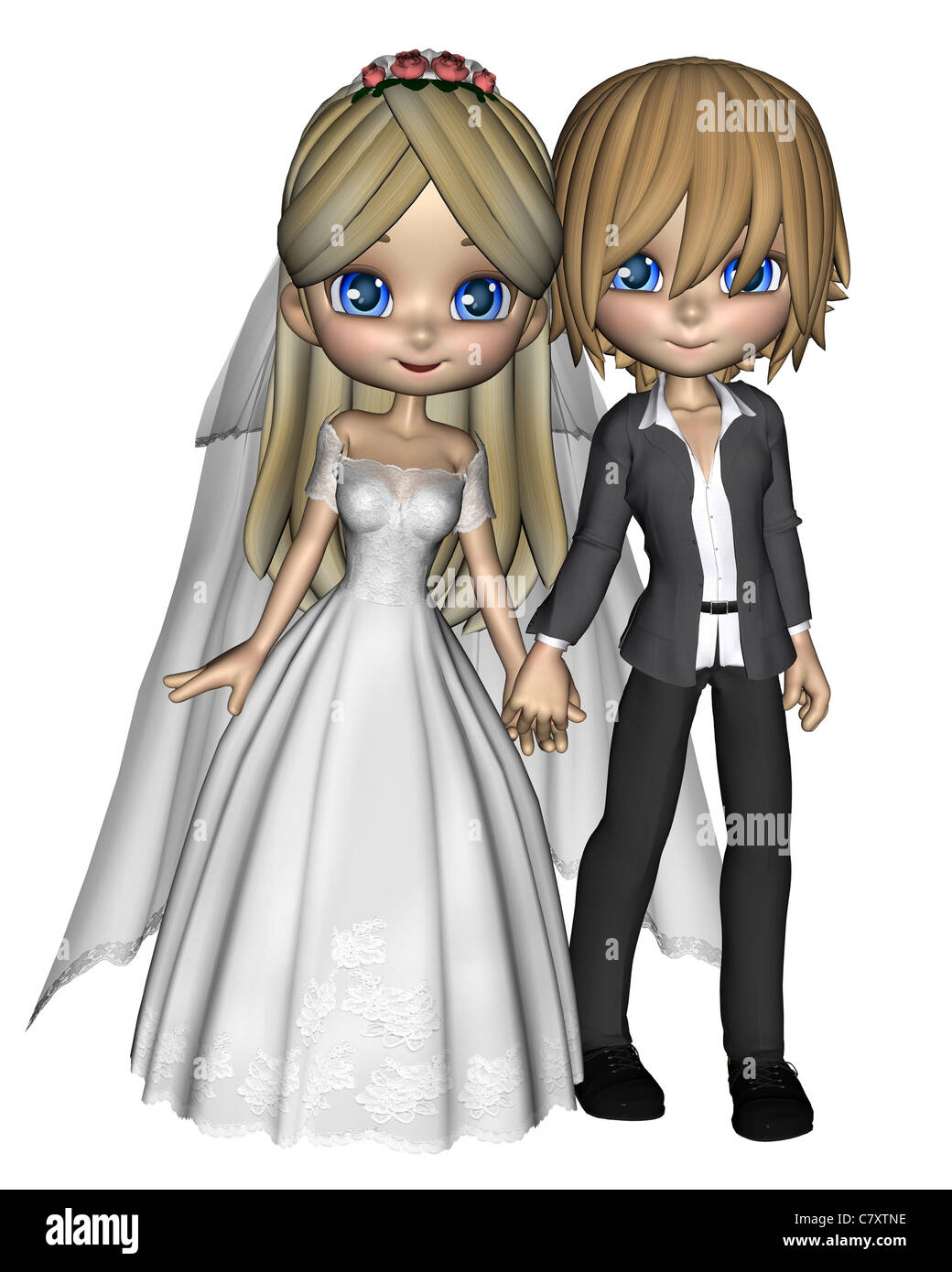 Cute Toon Wedding Couple - 1 - Stock Image