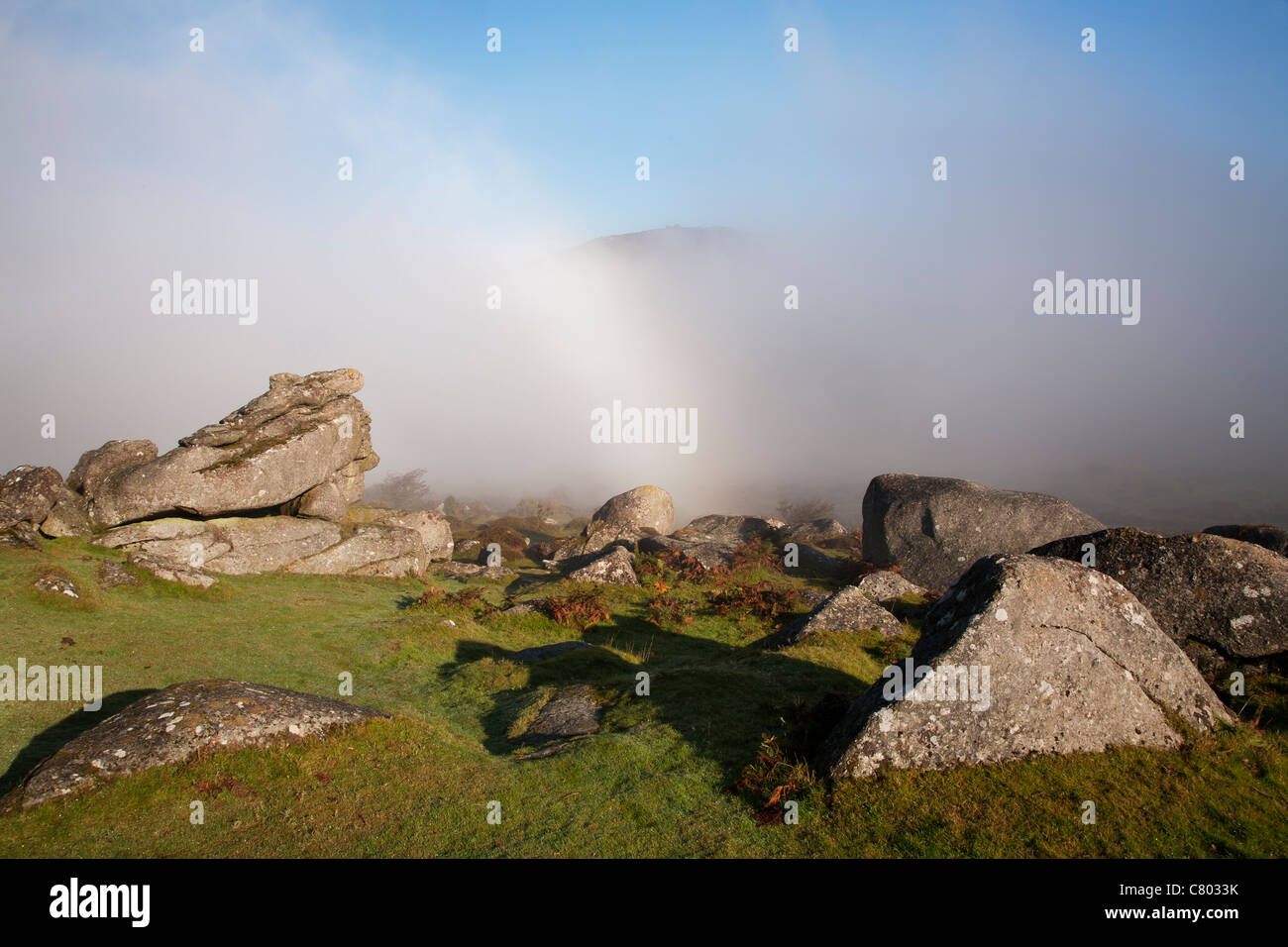 Bow in the mist on Dartmoor - Stock Image