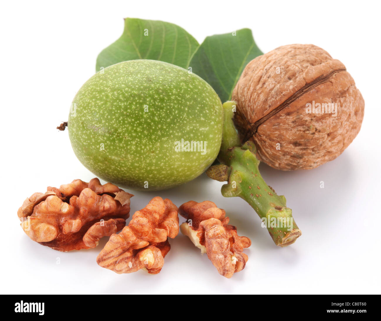 Green walnut; peeled walnut and its kernels. Isolated on a white background. - Stock Image
