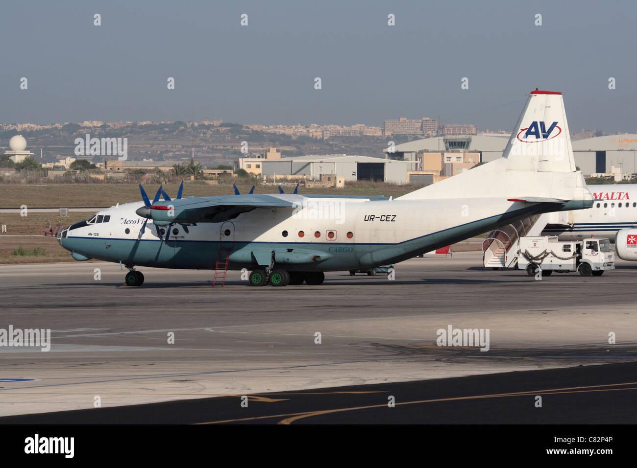 Aerovis Airlines Antonov An-12 cargo plane - Stock Image