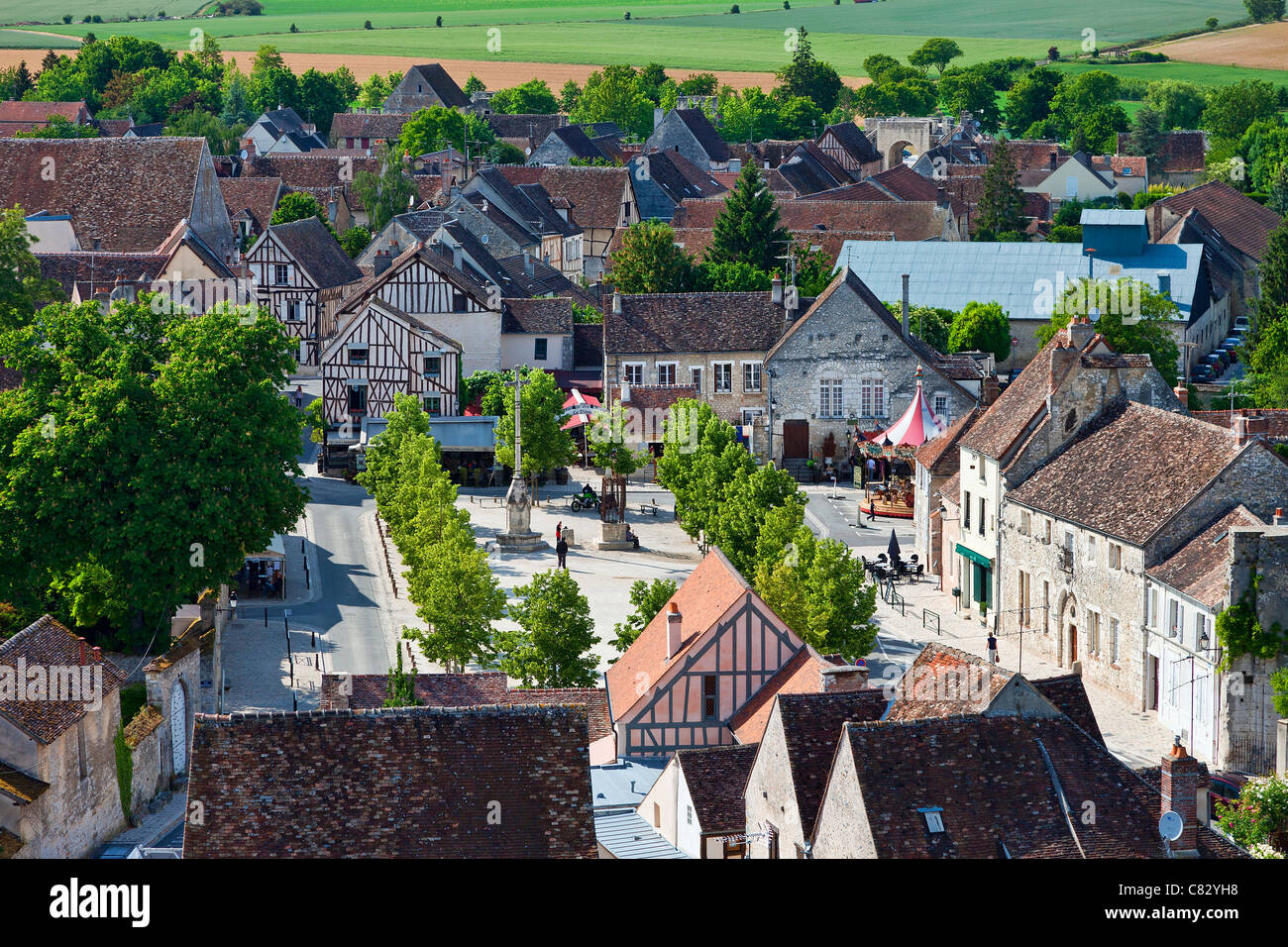 France, Seine et Marne, Provins, listed as World Heritage by UNESCO, High angle view of houses - Stock Image