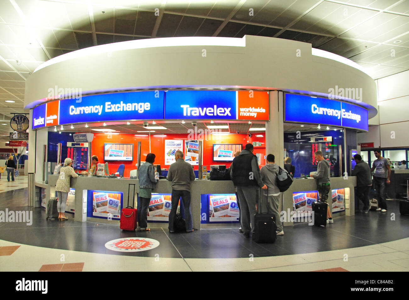 Travelex Currency Exchange in departures, North Terminal, London Gatwick Airport, Crawley, West Sussex, England, Stock Photo