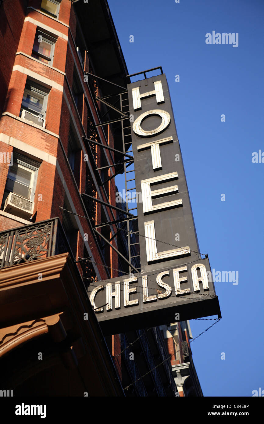 the iconic Chelsea Hotel facade & exterior sign in Greenwich Village, New York, NYC, photographed in daylight against Stock Photo