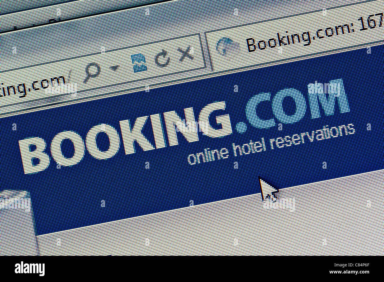 Booking.com logo and website close up - Stock Image