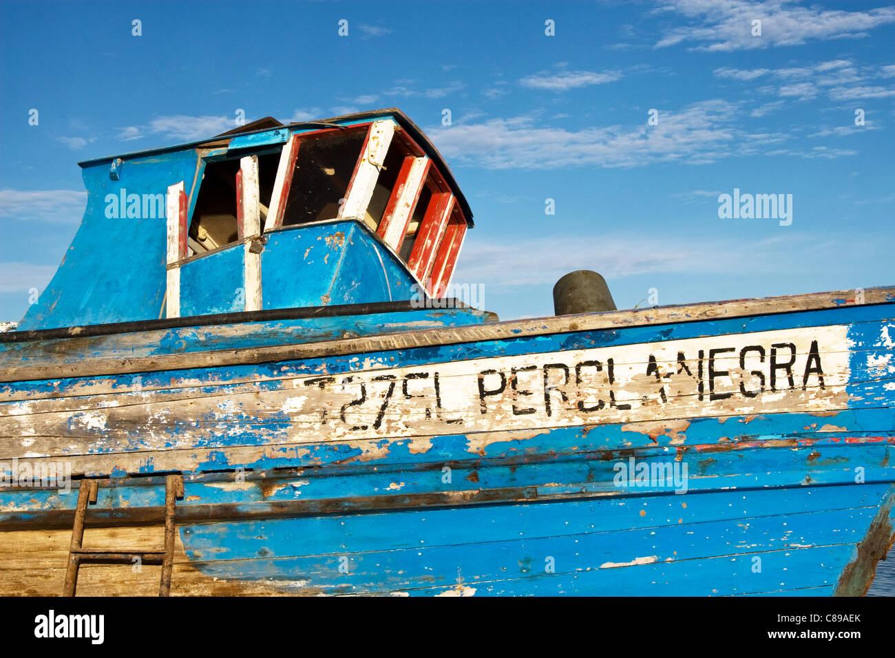 Derelict fishing boat Santa Luzia, Tavira, Algarve, Portugal - Stock Image