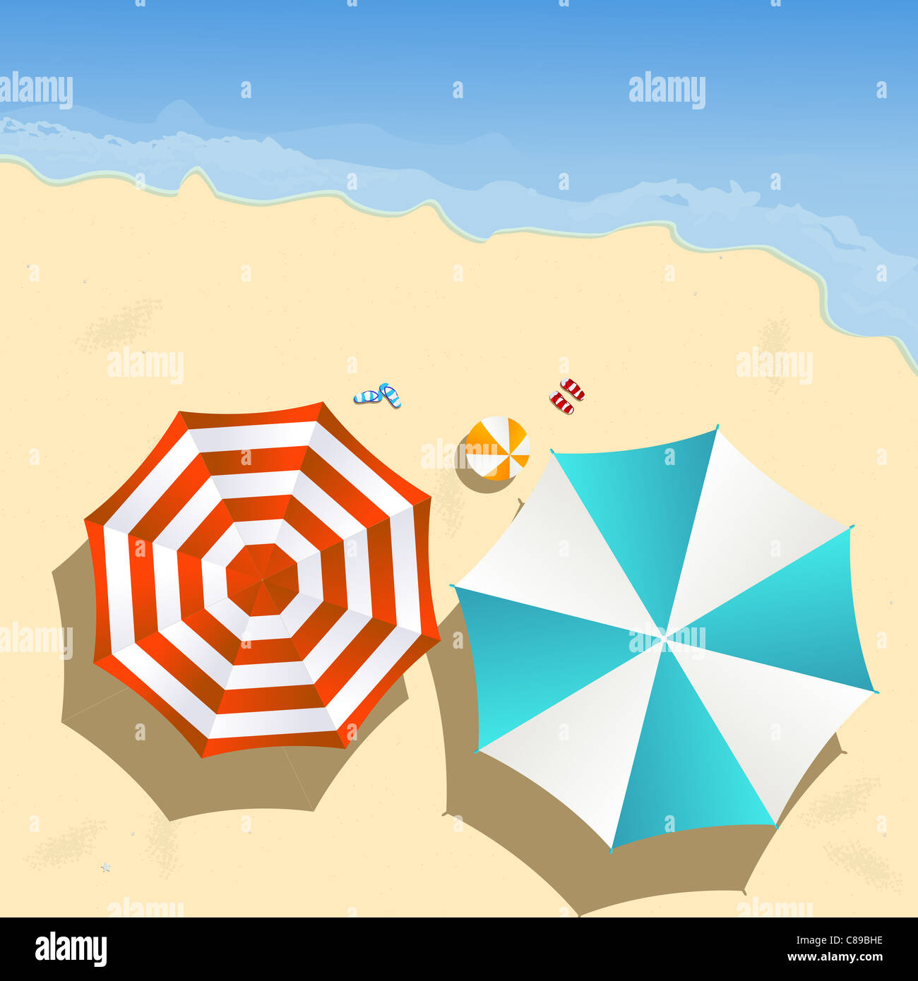 Couple of umbrellas on the beach, graphic art - Stock Image