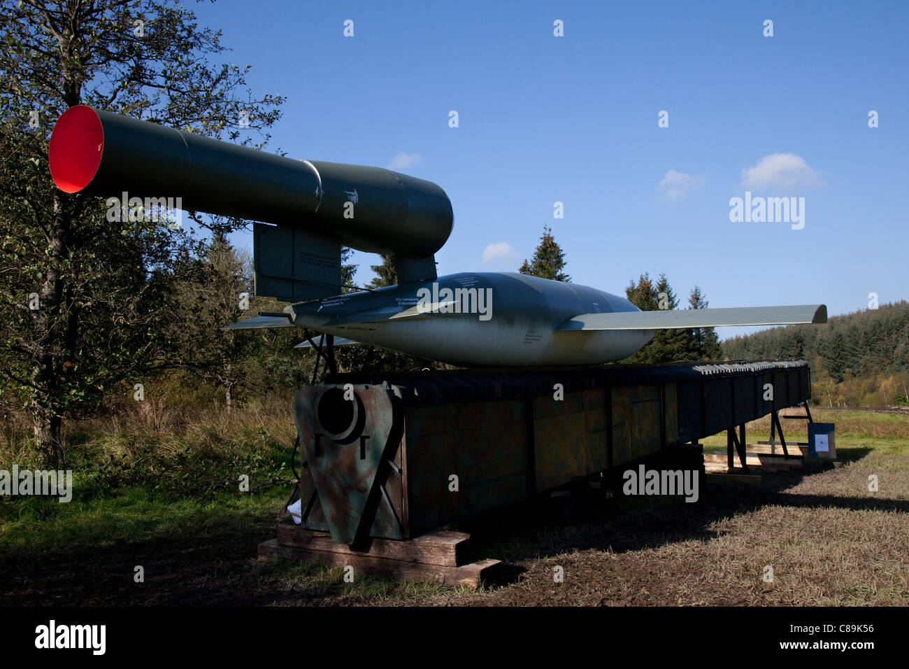 Replica V-1 World war 2, world war II, world war two, flying bomb also known to the Allies as the buzz bomb, or - Stock Image